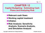Relevant cash flows Working capital treatment Inflation