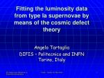 Fitting the luminosity data from type Ia supernovae by means of the cosmic defect theory
