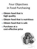 Four Objectives in Food Purchasing