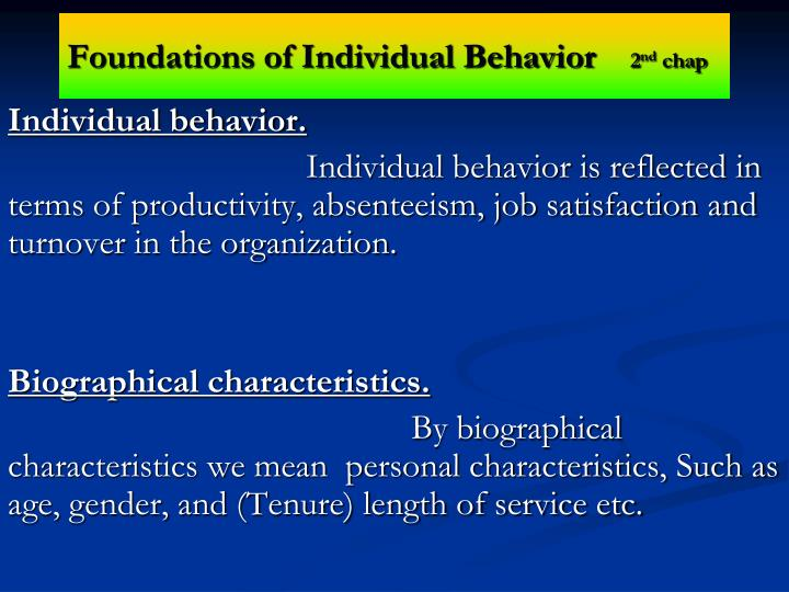 foundations of individual behavior 2 nd chap n.