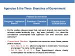 Agencies & the Three  Branches of Government