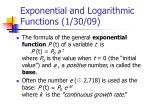 Exponential and Logarithmic Functions (1/30/09)