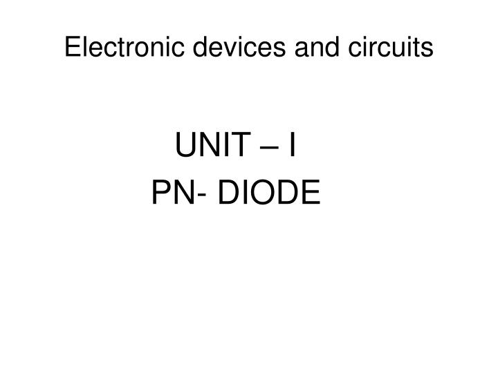 electronic devices and circuits n.