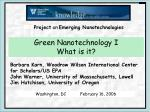 Green Nanotechnology I  What is it?