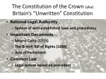 """The Constitution of the Crown  (aka) Britain's """"Unwritten"""" Constitution"""