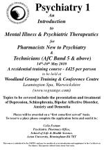 An  Introduction  to Mental Illness & Psychiatric Therapeutics for  Pharmacists New to Psychiatry