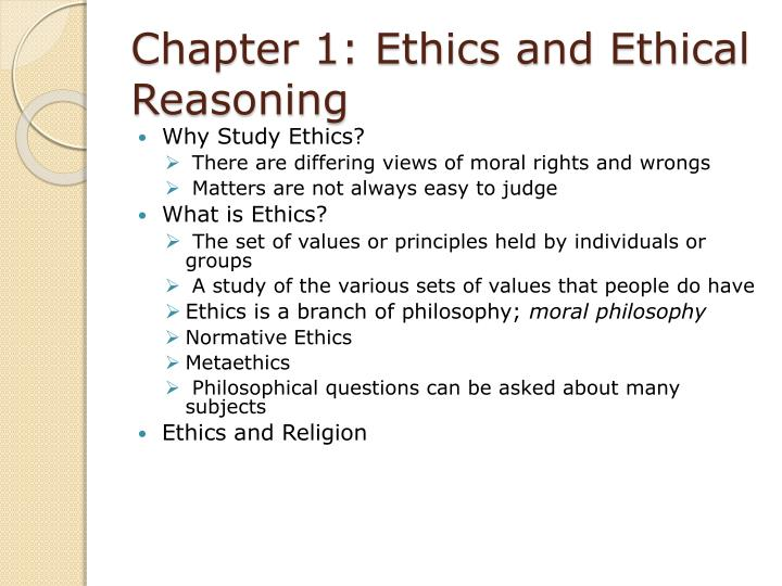 chapter 1 ethics and ethical reasoning n.