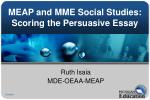 MEAP and MME Social Studies: Scoring the Persuasive Essay