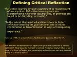 Defining Critical Reflection