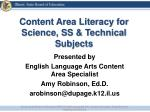 Content Area Literacy for Science, SS & Technical Subjects