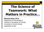 The Science of Teamwork: What Matters in Practice…