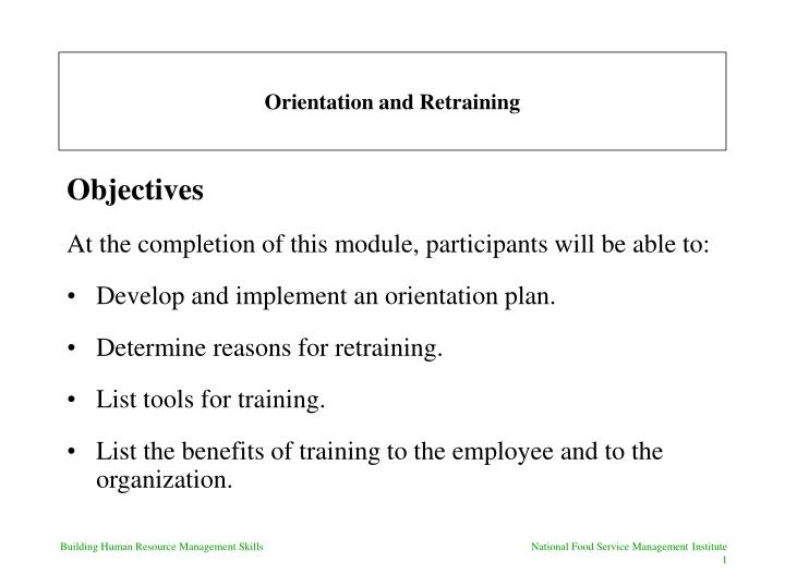 orientation and retraining n.
