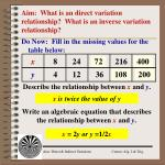 Aim: What is an direct variation relationship? What is an inverse variation relationship?