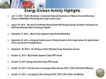 Energy Division Activity Highlights