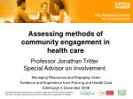 Assessing methods of community engagement in health care