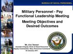 Military Personnel - Pay Functional Leadership Meeting Meeting Objectives and  Desired Outcomes