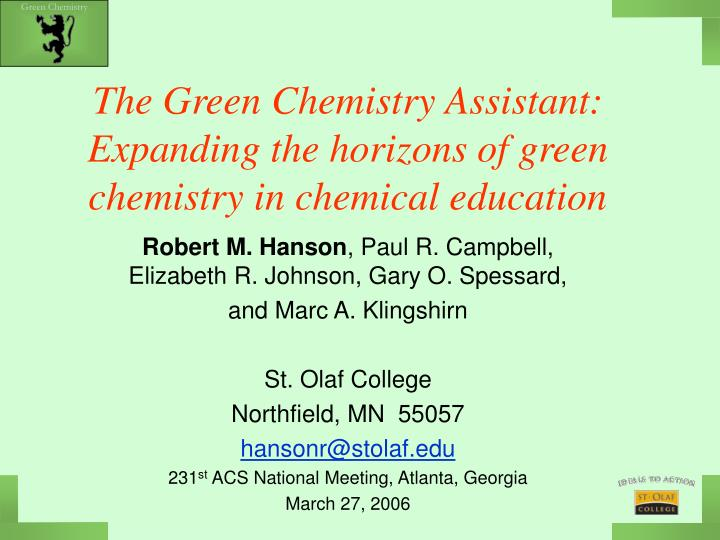 the green chemistry assistant expanding the horizons of green chemistry in chemical education n.