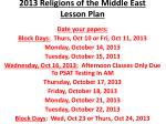 2013 Religions of the Middle East Lesson Plan