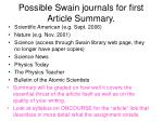 Possible Swain journals for first Article Summary.