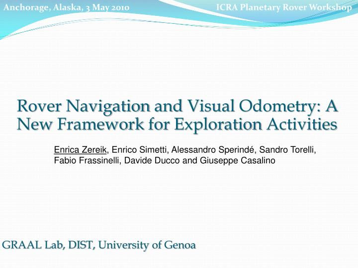 PPT - Rover Navigation and Visual Odometry : A New Framework