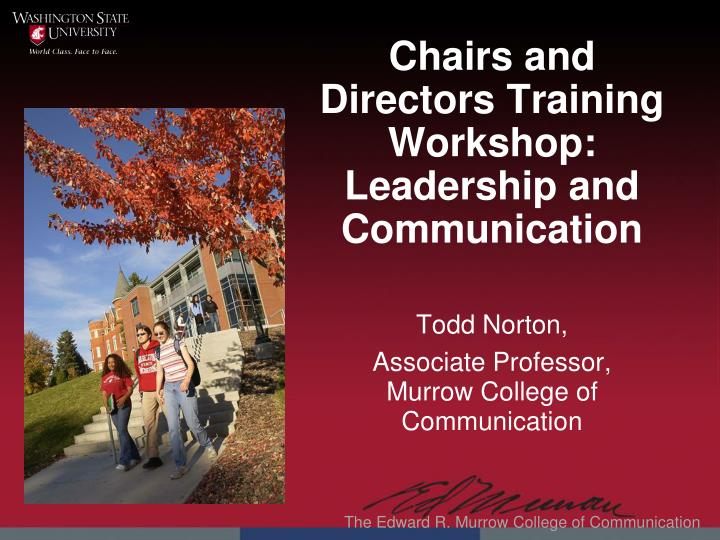 chairs and directors training workshop leadership and communication n.