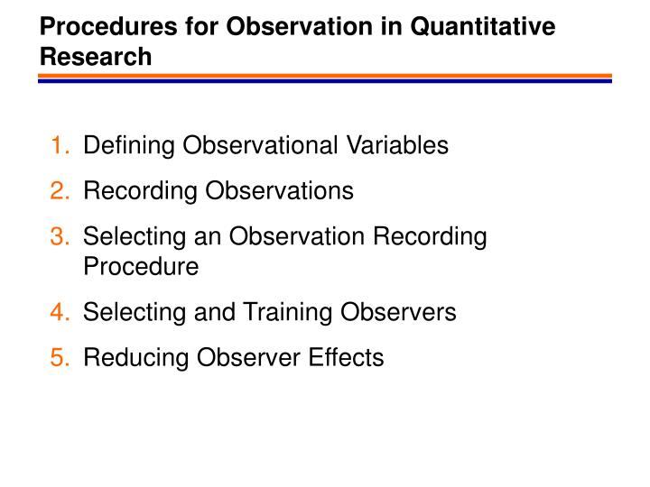 procedures for observation in quantitative research n.