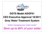 DGTS Model ADGF01 CEO Executive Approval 18/2011 Grey Water Treatment System