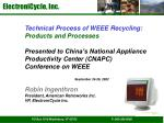 Technical Process of WEEE Recycling: Products and Processes