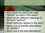 "November 3, 2010 ""Baseball is the Perfect Game""	Word Choice	         Day 1"