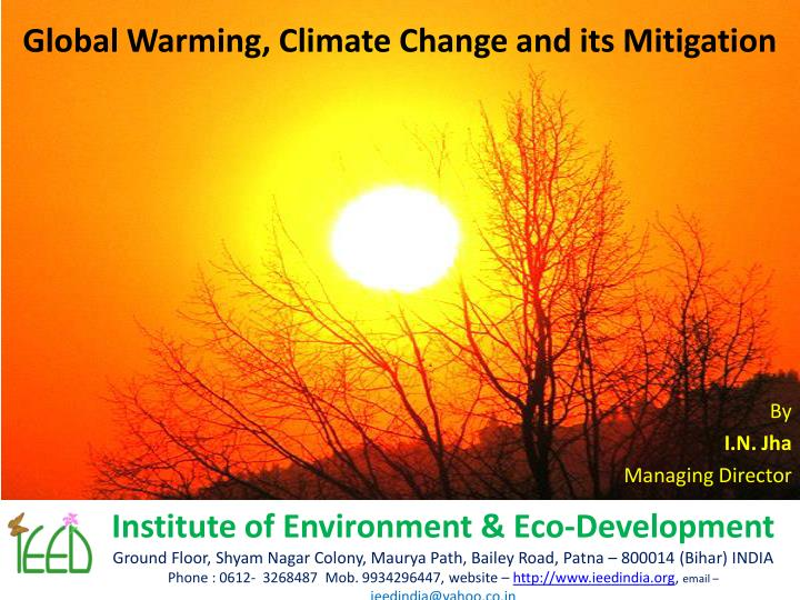 global warming climate change and its mitigation n.