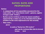 RATIOS, RATES AND PROPORTIONS