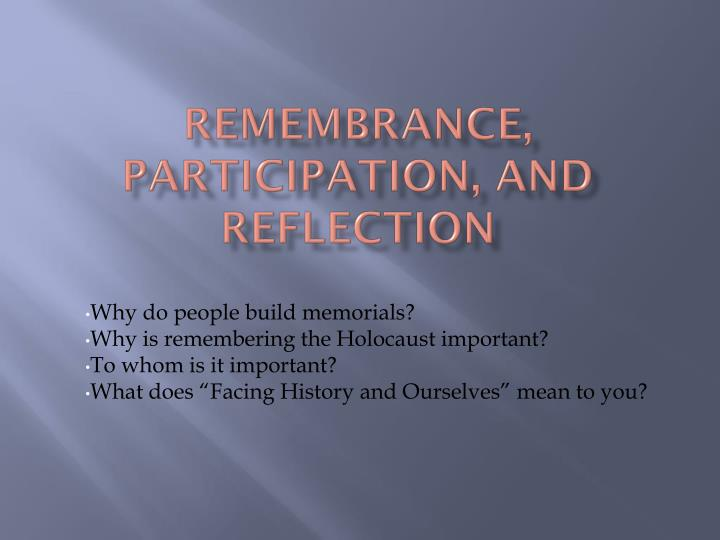 remembrance participation and reflection n.