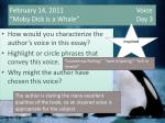 """February 14, 2011   Voice """"Moby Dick is a Whale"""" Day 3"""