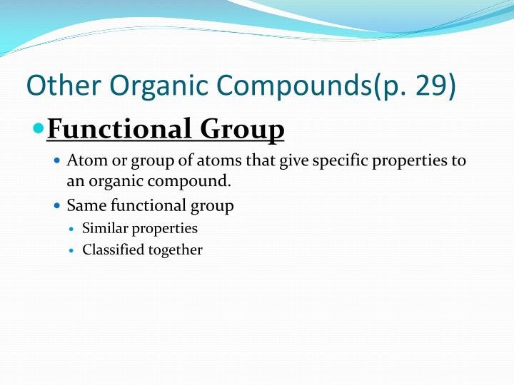 other organic compounds p 29 n.