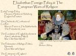 Elizabethan Foreign Policy & The European Wars of Religion