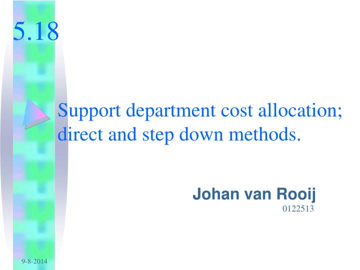 support department cost allocation direct and step down methods n.