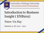 Introduction to Business Insight ( ENB202)