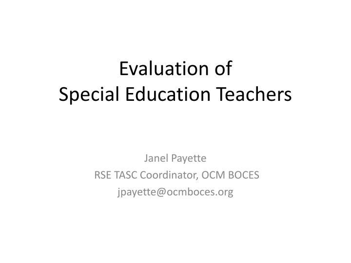 evaluation of special education teachers n.