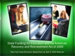 State Funding for Education and the American Recovery and Reinvestment Act of 2009