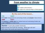 L/O:  To explain what climate is To apply this understanding to climate graphs