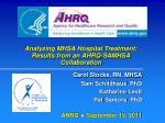 Analyzing MHSA Hospital Treatment: Results from an AHRQ-SAMHSA Collaboration