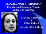 MAN-HATING FEMINISTS? Feminists and Stereotype Threat: Attitudes Toward Men
