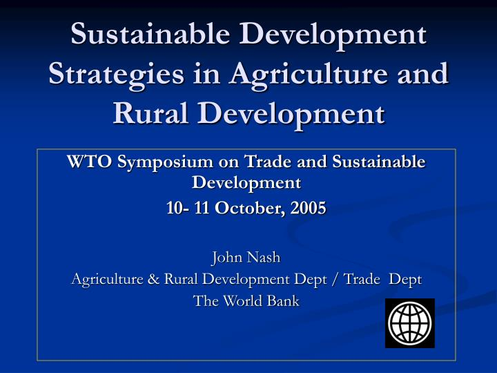 sustainable development strategies in agriculture and rural development n.
