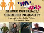 Gender Difference/ Gendered Inequality