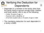 Verifying the Deduction for Dependents