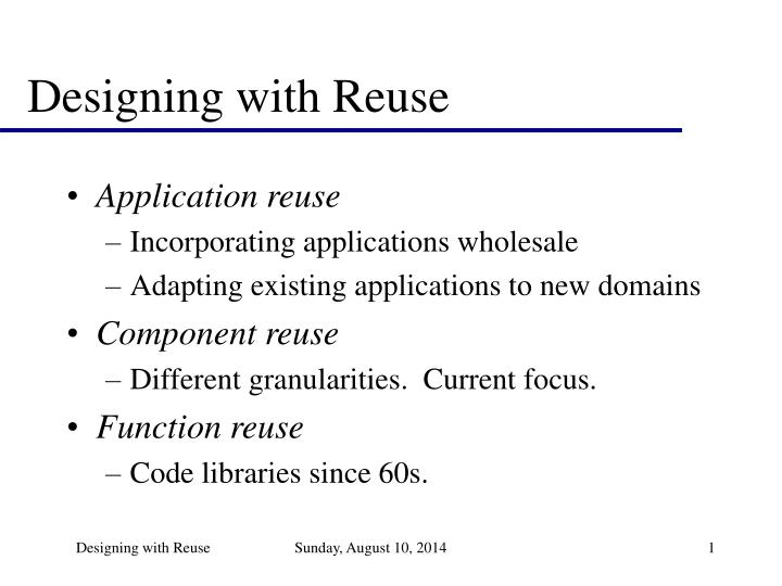 designing with reuse n.