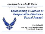 Establishing a Culture of Responsible Choices – Sexual Assault