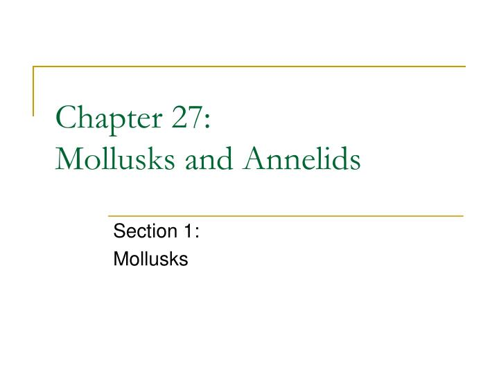 chapter 27 mollusks and annelids n.