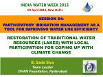 SESSION S4:  PARTICIPATORY IRRIGATION MANAGEMENT AS A TOOL FOR IMPROVING WATER USE EFFICIENCY