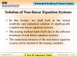Solution of Non-linear Equation Systems